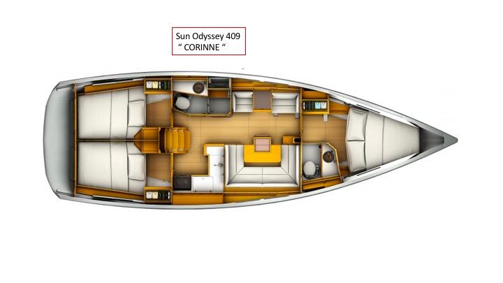 "Jeanneau Sun Odyssey 409 ""Corinne"" Grundriss"