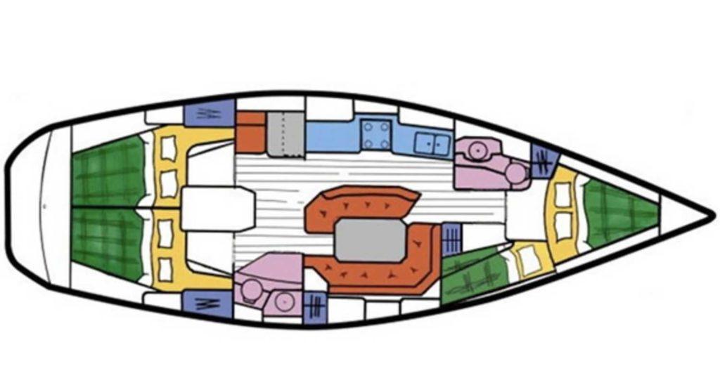 Jeanneau Sun Odyssey 42.2 Grundriss chartern bei Korfu Segeln