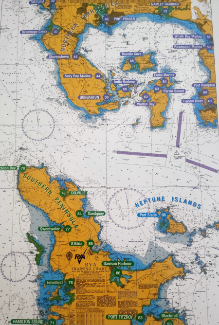 Übungskarte 3 der RYA Northern Territories and Southern Peninsula beim Yachtmaster offshore Navigation