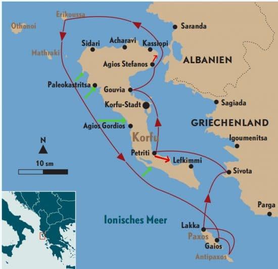 Rund Korfu Törn-Plan der Zeitschrift Yacht