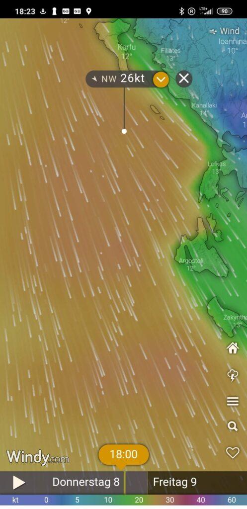 Kräftige Winde am Start unseres Segeltörns durch Griechenland