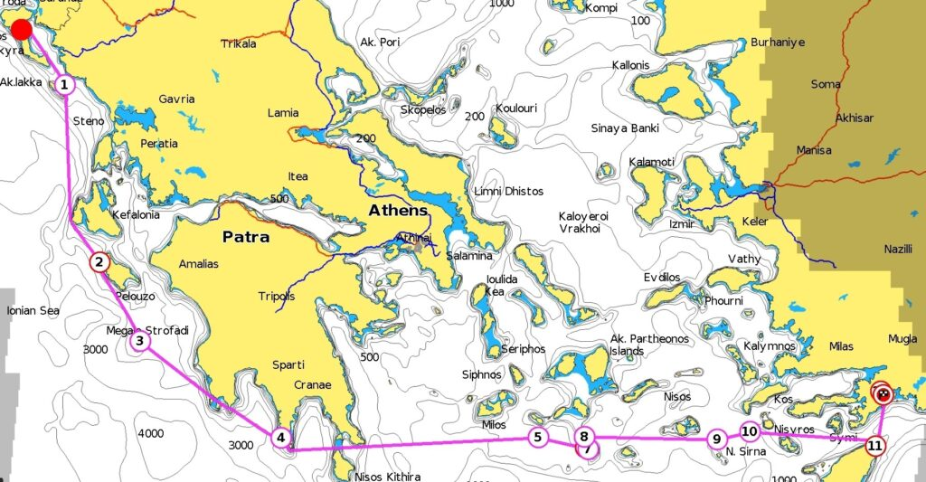 Beim Segeltörn quer durch Griechenland geht's von Korfu ganz im Nordwesten nach Rhodos im äußersten Südosten Griechenlands