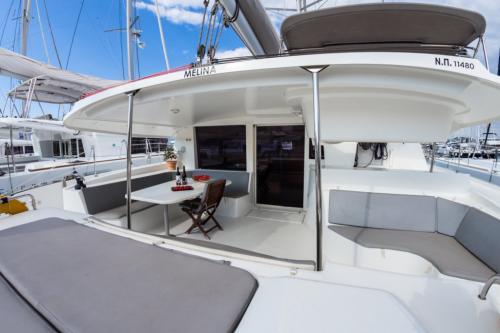 "Fountaine Pajot Salina 48 ""Melina"" Cockpit bei Korfu Segeln zur Charter ab Lefkas"