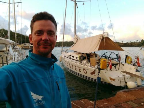 Skipper Mathias in Antigua vor dem Transatlantik